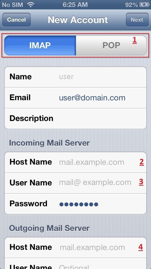 تنظیمات ایمیل در آیفون